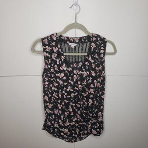 Candie's Black Pink Floral Lace Wrap Top XS